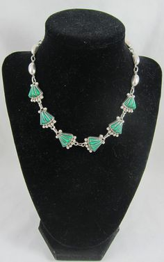Art Deco Style Silver Sterling Pendant Necklace Choker w. Green Stone by Framarines on Etsy