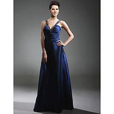 Taffeta A-line V-neck Floor-length Evening/Prom Dress inspired by Adrienne Frantz at Emmy Award
