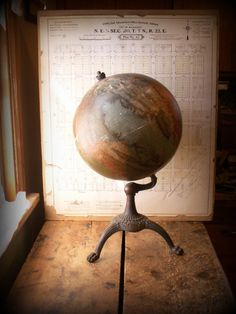 Vintage (circa 1914-1924) Terrestrial Table Globe on Tripod Stand from W. and A.K. Johnston Limited, Edinburgh