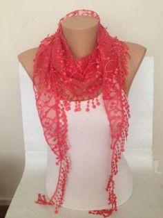 Pink Scarf  Dainty Lace Scarf  Wedding Scarf  by MaxiJoy on Etsy, $15.00