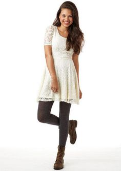 heather gray tights, white lace dress, brown lace-up leather boots