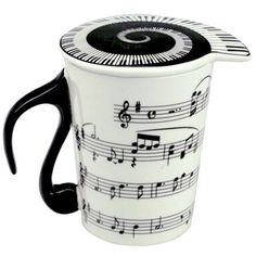 Sheet Music Coffee Mug (Piano Keyboard Lid /Musical Notes Tea Cup Gift)