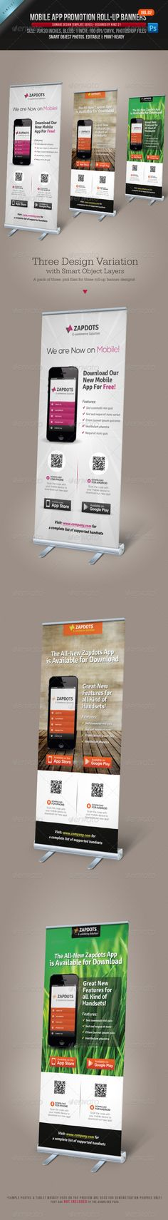 Buy Mobile App Promotion Roll-up Banners by on GraphicRiver. Perfect matching template Mobile App Promotion Roll-up Banners A great-alternative roll-up banner template ide. Pull Up Banner Design, Standing Banner Design, Roll Up Design, Pop Up Banner, Web Banner, Signage Design, Brochure Design, Banner Design Inspiration, App Promotion