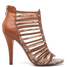 Sandal in brown colour with stiletto heel. Features snakeskin details and elegand strap design. Fastens with zipper at the back.