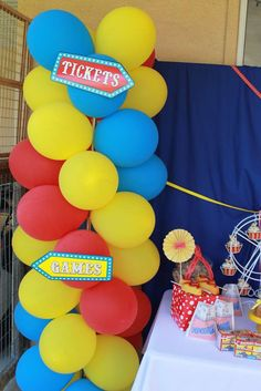 Colorful balloons at a circus birthday party! See more party ideas at CatchMyParty.com!