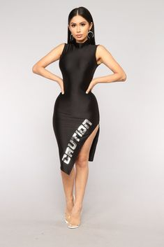 """Available In BlackAsymmetrical""""Caution""""Mock NeckBack Polyester SpandexMade In USA Dope Outfits, Swag Outfits, Trendy Outfits, Hip Hop Fashion, Fashion 2018, Womens Fashion, Fashion Black, Fashion Trends, Sexy Dresses"""
