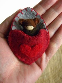 Waldorf Bear in Heart Pouch, Valentine Doll, Small Baby Peg Doll, red, gray, brown, wool, wood, eco toy