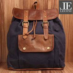 LECONI Backpack Women men leisure backpack hiking backpack leather brown  women men blue nature Vintage Leather Canvas navy LE1010-C 8f0937e8fd3