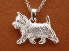 STERLING SILVER SMALL CARIN TERRIER MOVING STUDY PENDANT $44