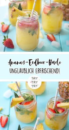 Ananas-Erdbeer-Bowle / Getränk / Drinks / Erfrischung im Sommer / Sommer-Getränk / The Effective Pictures We Offer You About Alcoholic Drinks whiskey A quality picture can tell Drink Recipes Nonalcoholic, Easy Drink Recipes, Drinks Alcohol Recipes, Non Alcoholic Drinks, Cocktail Recipes, Summer Recipes, Smoothie Recipes, Smoothies, Summertime Drinks