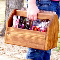 Vintage Tool Box Inspired - Wood Art Caddy - Garden Tool Carrier - Wood Picnic Basket - Notions Box