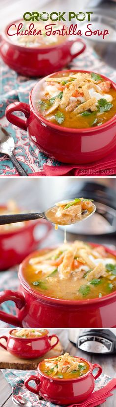 Crock Pot Chicken Tortilla Soup - Krafted Koch - A flavorful and healthy soup recipe made in your slow cooker. #CrockPot #SlowCooker #Soup #Healthy #Light #Chicken