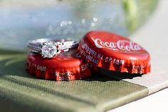 red coca cola caps wedding ring shot