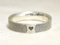 - Brent&Jess Fingerprint jewelry- made with your fingerprints Fingerprint Wedding, Fingerprint Jewelry, Custom Wedding Rings, Custom Jewelry, Cuff Bracelets, Rings For Men, Jewelry Making, Engagement Rings, Jewels