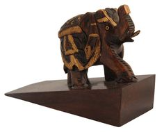 "Bulk Wholesale Hand-Crafted 3"" Dark Brown Kadam Wood Door-Stopper with Elephant Design – Antique-Look Décor / Home Essentials from India"