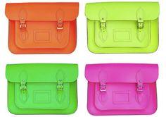 cambridge satchel + neon = fashion forward for spring/summer!!!!