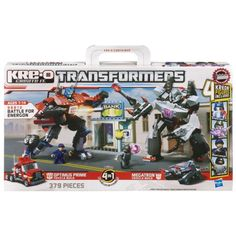KRE-O Transformers Battle for Energon Set Build an Optimus Prime robot or truck Build a Megatron robot or tank Kreon figures come with weapons Set includes 1 piece of the Dark Energon weapon Ages 7 to 14 years Transformers Energon, Transformers Optimus Prime, Buy Toys, Toys Shop, Kids Toys Online, Star Wars Toys, Christmas Toys, Father And Son, 1 Piece