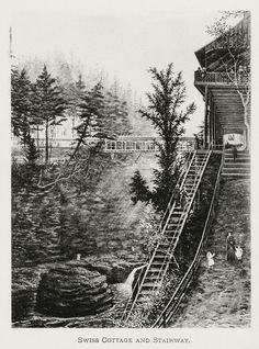 Historic photo of Watkins Glen State Park showing the Suspension Bridge and the Swiss Chalet Battle Of Antietam, Watkins Glen State Park, Flood Damage, Suspension Bridge, Mural Painting, Wine Country, Historical Photos, Railroad Tracks, State Parks