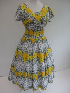 Horrockses 50's Dress w/Straps and Matching Bolero Cover-Up. Lemon Tree - Oh So Pretty!