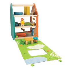 Play House - wood with furniture and take-along portability. I like the garden attached to it