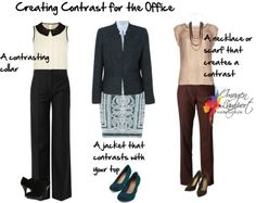 sitting behind desk or at conference table: high contrast above waist denotes more authority & expertise