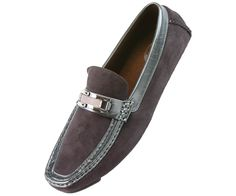 Amali Mens Driving Moccasin Loafer in Grey Microfiber With Patent Trim 1408-011 #Amali #DrivingMoccasins