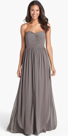 grey bridesmaid dress. such a flattering style! (comes in an array of colors)