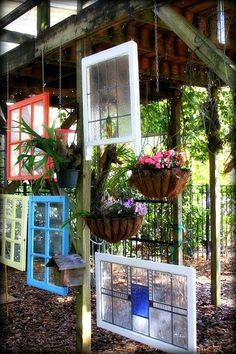 Yard Art & Garden Decoration Ideas DIY Garden Art Ideas - Garden art with windows! What a Great Idea!DIY Garden Art Ideas - Garden art with windows! What a Great Idea! Diy Garden, Garden Crafts, Garden Projects, Garden Ideas, Upcycled Garden, Herbs Garden, Fruit Garden, Garden Bed, Art Projects