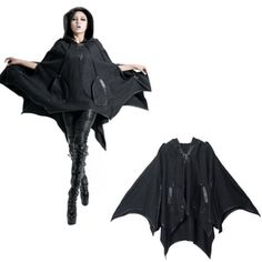 Black Wool Hooded Bat Goth Emo Cape Jacket Poncho Clothing Men Women SKU-11401217
