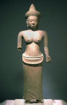 Hindu goddess  Place of Origin:Cambodia  Date:1100-1150  Materials:Sandstone  Style or Ware:Angkor Wat  Dimensions:H. 24 1/2 in x W. 7 1/2 in x D. 5 1/2 in, H. 62.2 cm x W. 19.1 cm x D. 14 cm