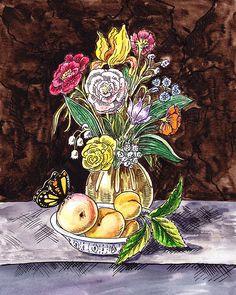 Vintage Bouquet With Fruits And Butterfly' - http://irina-sztukowski.artistwebsites.com/featured/vintage-bouquet-with-fruits-and-butterfly-irina-sztukowski.html #countrystyle #country #vintage #vintagecountry #cuteandcozy #painting #homedecor #art