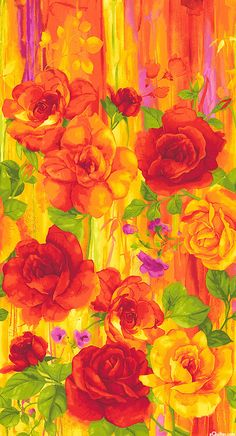 "Rosa - Blazing Beauty - Tango Orange - 24"" x 44"" PANEL - Quilt Fabrics from www.eQuilter.com"