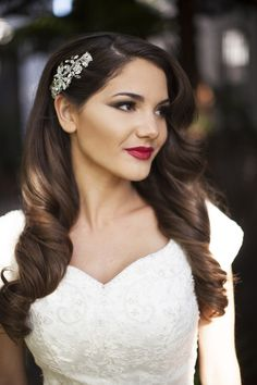 Love this! Old Hollywood bride wears half up wavy hairstyle and red lips #Wedding Themes, #Wedding Decor, #Vintage Wedding Themes, #Red, #Black, #Makeup, #Real Weddings, #Ceremony and Reception, #Design, #Beauty and Fitness, #Hairstyles