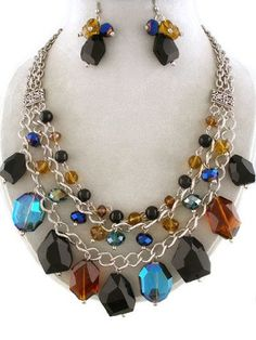 Fancy Chunky Multi Layered Mixed Glass Bead Statement Bib Necklace and Earrings Set Elegant Trendy Beaded Fashion Jewelry