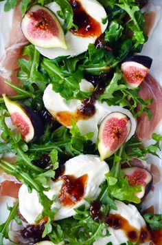 Fig, Arugula, Prosciutto and Burrata Cheese Salad..hello??...YUM!