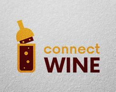 connect wine Logo design - The preview mockup is not included in the download file – it is only for presentation purposes. Price $150.00