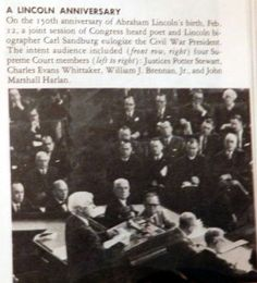 "Carl Sandburg addressing a joint session of Congress February 12, 1959. From ""Illustrated Encyclopedia Book-of-the-Year 1960"""