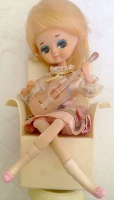 BRADLEY: 1960s GUITAR GIRL Music Box Stockinette Doll