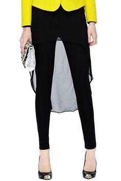 #ROMWE Asymmetric Skirt Black Pants