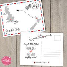 Custom Printable DIY Travel Themed Save the Date Postcard, $50.00