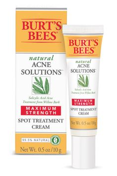 Burt's Bees Natural Acne Solutions Maximum Strength Spot Treatment Cream  For more troublesome blemishes, cover the breakout with hydrocortisone and seal it with waterproof Nextcare Band Aids; the seal intensifies the potency of the treatment and should, like a mini steroid injection, reduce its size and inflammation by the next morning.