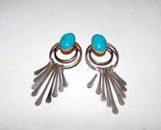Vintage Native American Navajo Sterling Silver Turquoise Pierced Dangle Earrings