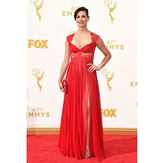 Gorgeous Red Lace Chiffon Celebrity Dresses High Slit Morena Baccarin Red Carpet Dresses 67th Emmy Awards Sexy Party Dresses