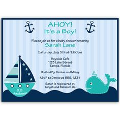 36 best boy baby shower invitations images on pinterest baby ahoy its a boy whale teal baby shower invitation filmwisefo