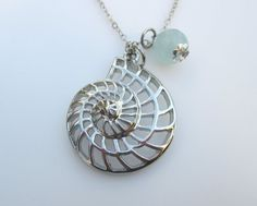 Nautilus Shell Necklace with Aquamarine Stone, $9.50