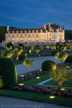 Night lights in the garden of Chateau Chenonceau, Loire Valley, Centre-Val de Loire Region, France. Beautiful Castles, Beautiful Places, Places To Travel, Places To See, French Castles, Château Fort, Palaces, Kirchen, France Travel