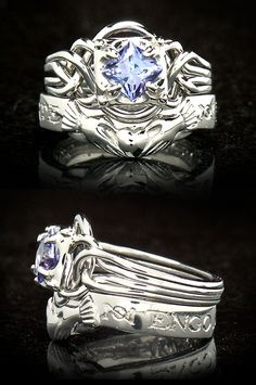 Tanzanite Engagement Rings | ... Tanzanite Guinevere puzzle engagement ring with contoured wedding band