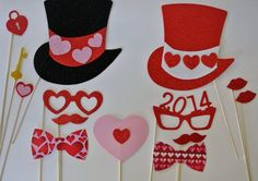 Valentine photo booth props | Valentines day Photo Booth Props GLITTER 13 pc hears by PICWRAP, $27 ...