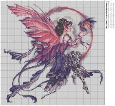 Cross Stitch Skull, Cross Stitch Fairy, Fantasy Cross Stitch, Cross Stitch Angels, Disney Cross Stitch Patterns, Cross Stitch Charts, Cross Stitch Designs, Cross Stitching, Cross Stitch Embroidery