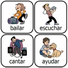 Spanish verbs Action Kids printable card set